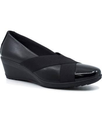 Imac 406130 Γυναικεία Ανατομικά Δερμάτινα Loafers με πλατφόρμα Μαύρα