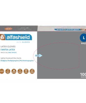 AlfaShield Latex Gloves - Γάντια Latex μίας χρήσης Ελαφρώς Πουδραρισμένα X-Large 100τμχ
