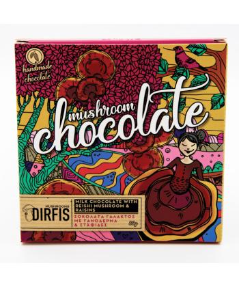Χειροποίητη σοκολάτα γάλακτος με γανόδερμα και σταφίδες 80gr // Δίρφυς